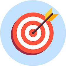 Arrow in center of board. Flat target icon isolated on white background